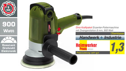 Exzenter-Poliermaschine mit Zwangsrotation 8 mm, 900 Watt